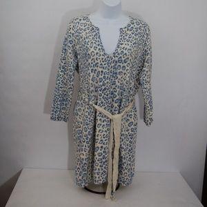 Rebecca Taylor Cream And Blue Animal Print Sweater